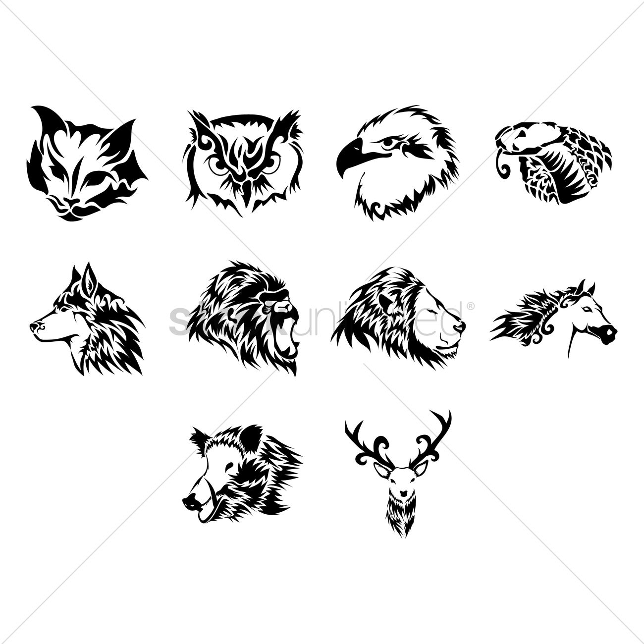 Line Drawing Animal Tattoos : Animal tattoo design vector image stockunlimited