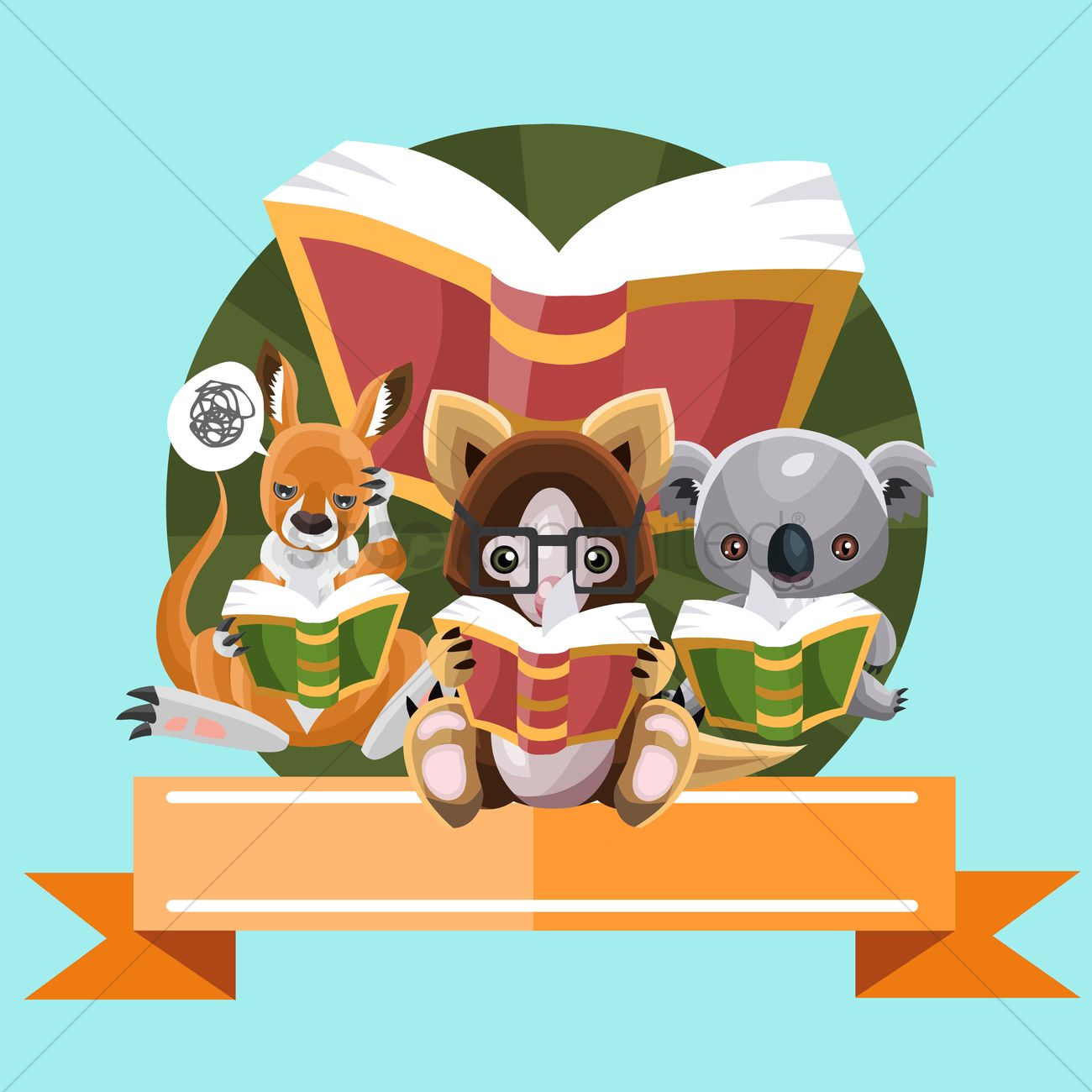 free animals reading books vector image 1535153 stockunlimited