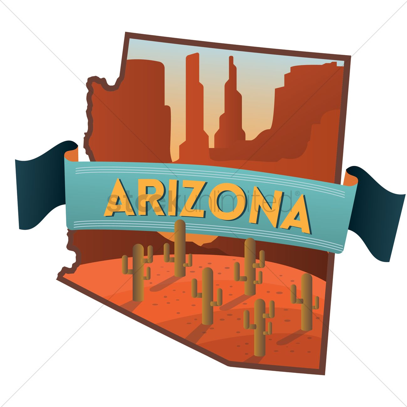 Arizona state map Vector Image - 1564305 | StockUnlimited