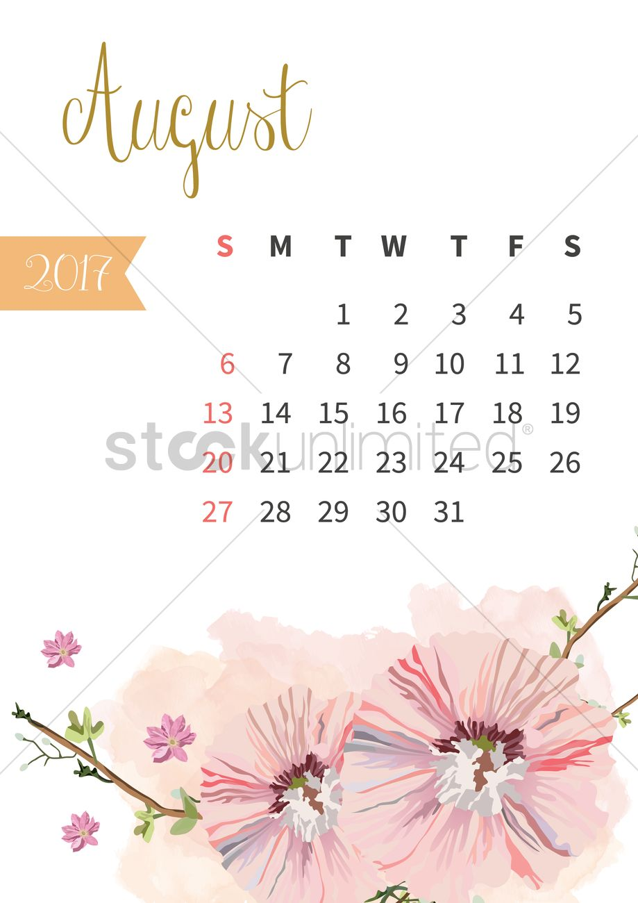 August 2017 floral calendar Vector Image - 1940317 ...