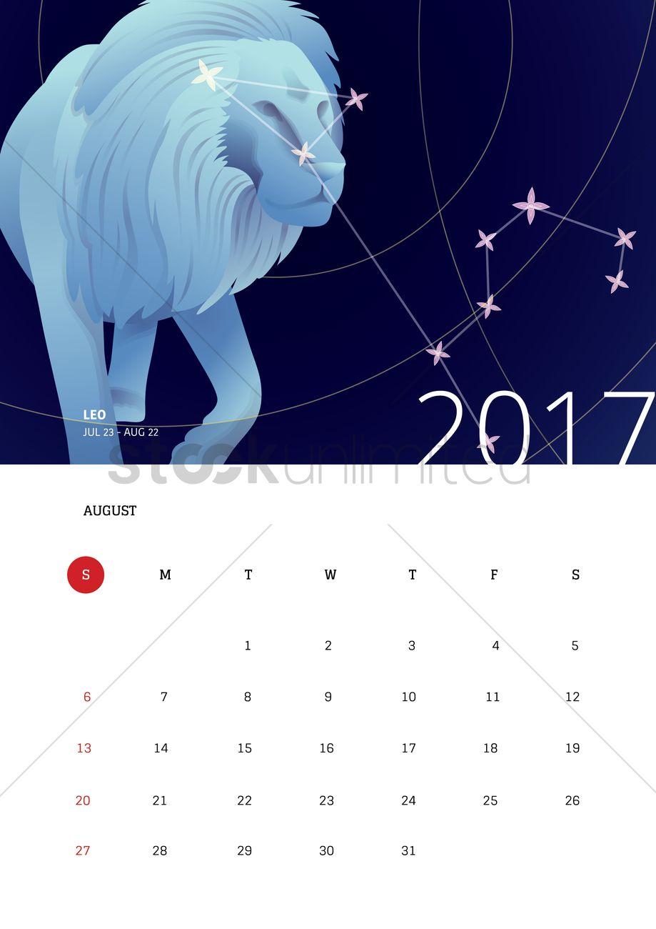 Horoscope Calendar.August 2017 Horoscope Calendar Vector Image 1940361 Stockunlimited