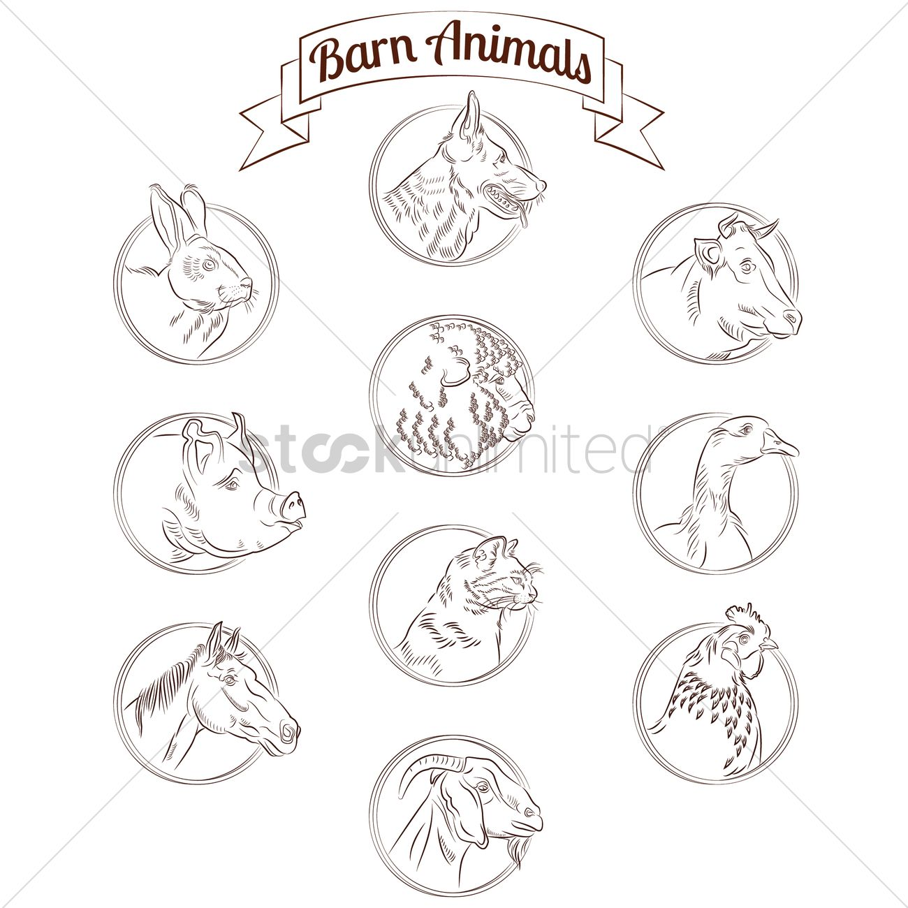Barn Animals Set Vector Graphic