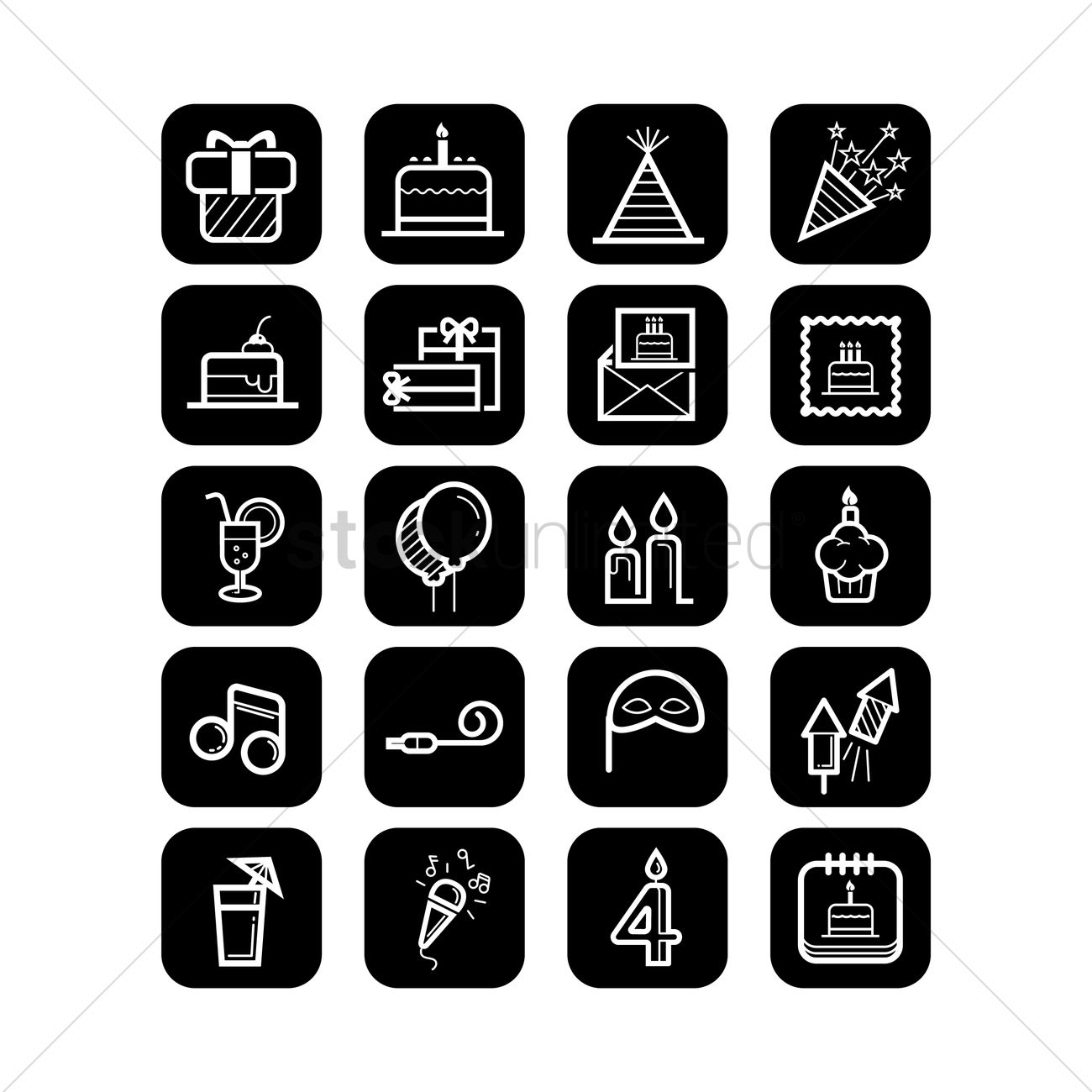 Birthday Party Icons Vector Image 1988329 Stockunlimited