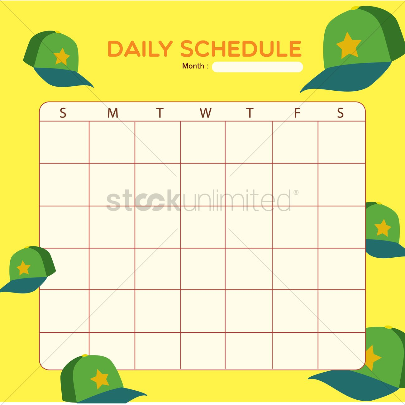 blank daily planner template design vector image 1479933