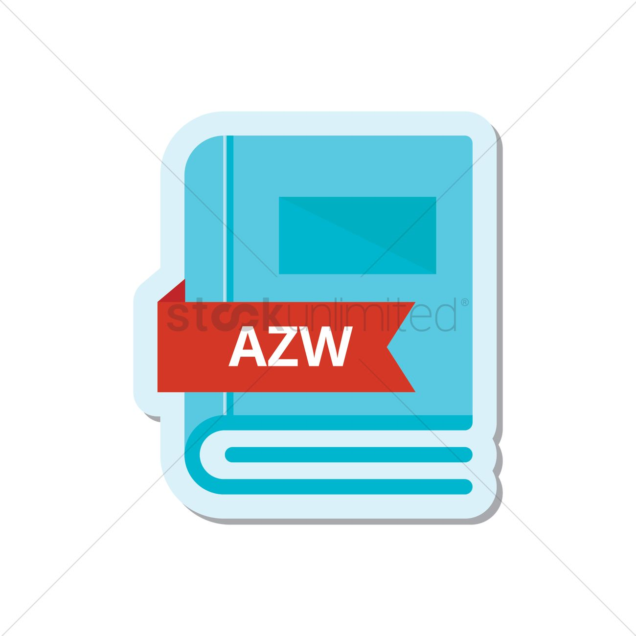 book with azw format icon vector graphic