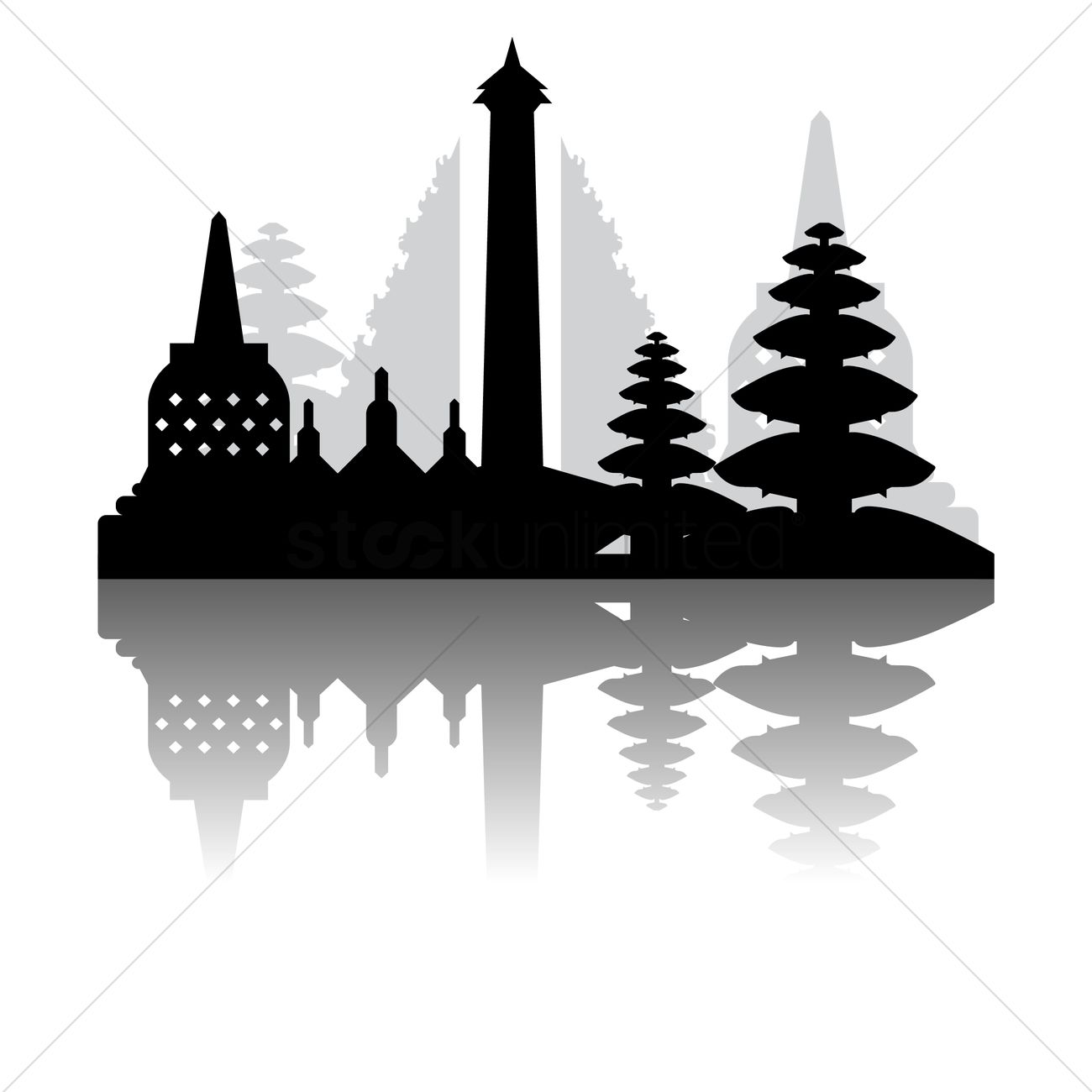 borobudur and indonesia national monument vector image scale clipart free images weight scale clip art with books