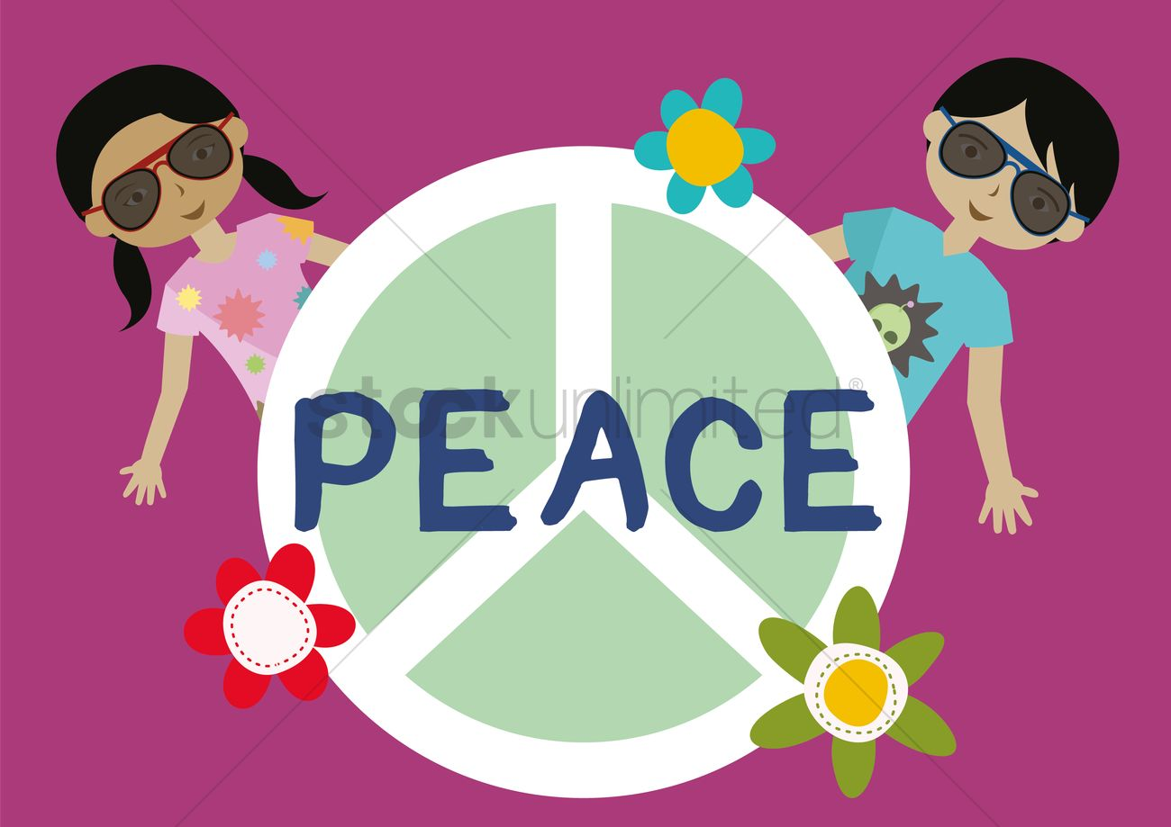 Boy And Girl With Peace Symbol Vector Image 1417057 Stockunlimited