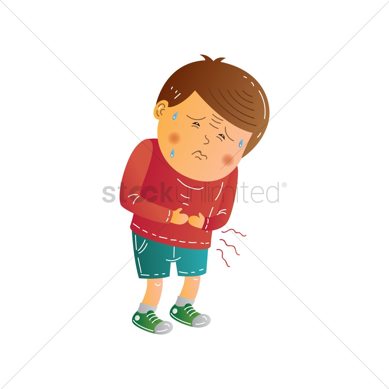 Boy Having A Stomachache Vector Image 1957045 Stockunlimited