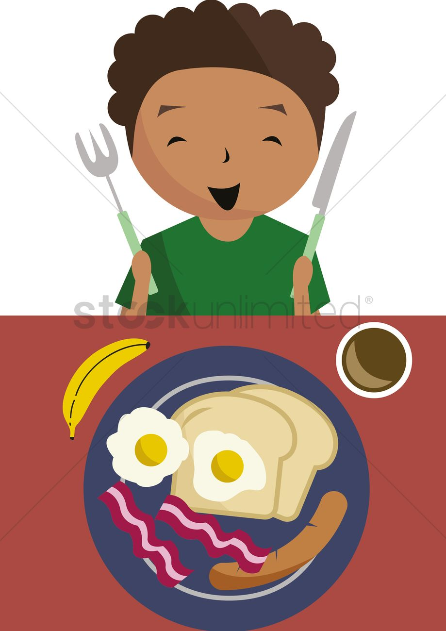 Boy Ready To Have Breakfast Vector Image 1398757