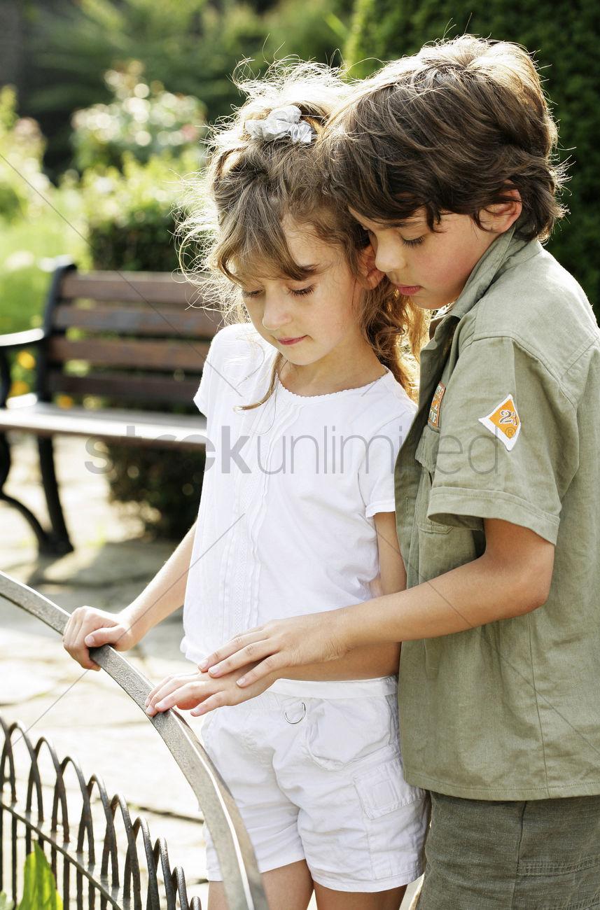 young girls touching boys