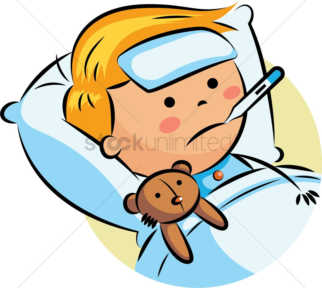 Boy with fever Vector Image - ...