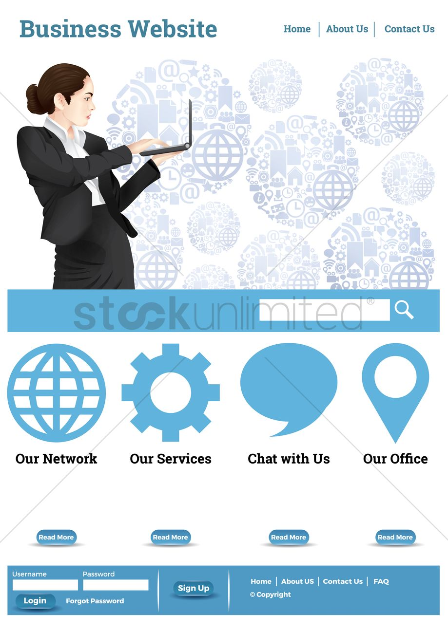 Business website layout Vector Image - 1969081 | StockUnlimited