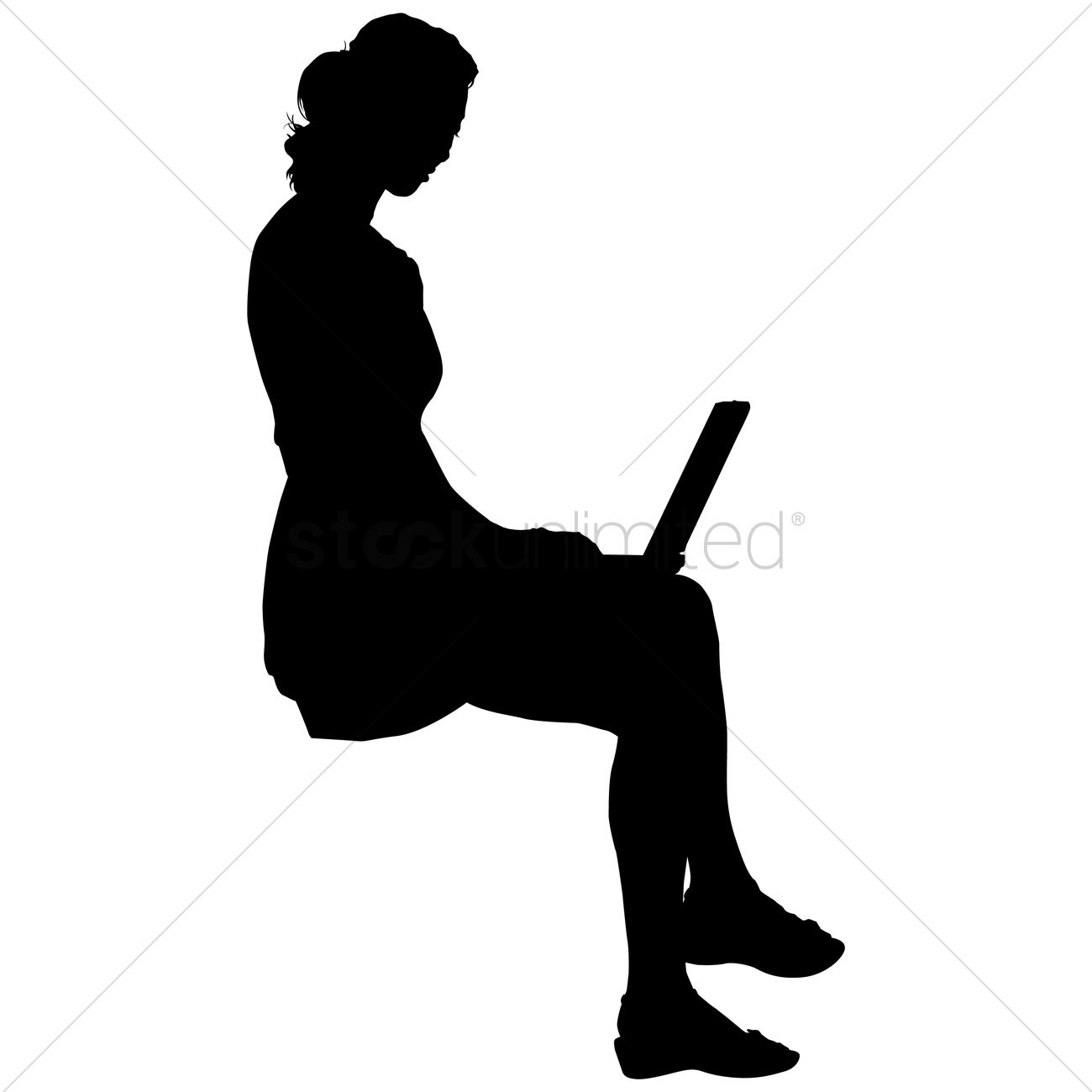 Businesswoman Using A Laptop Silhouette Vector Image ...