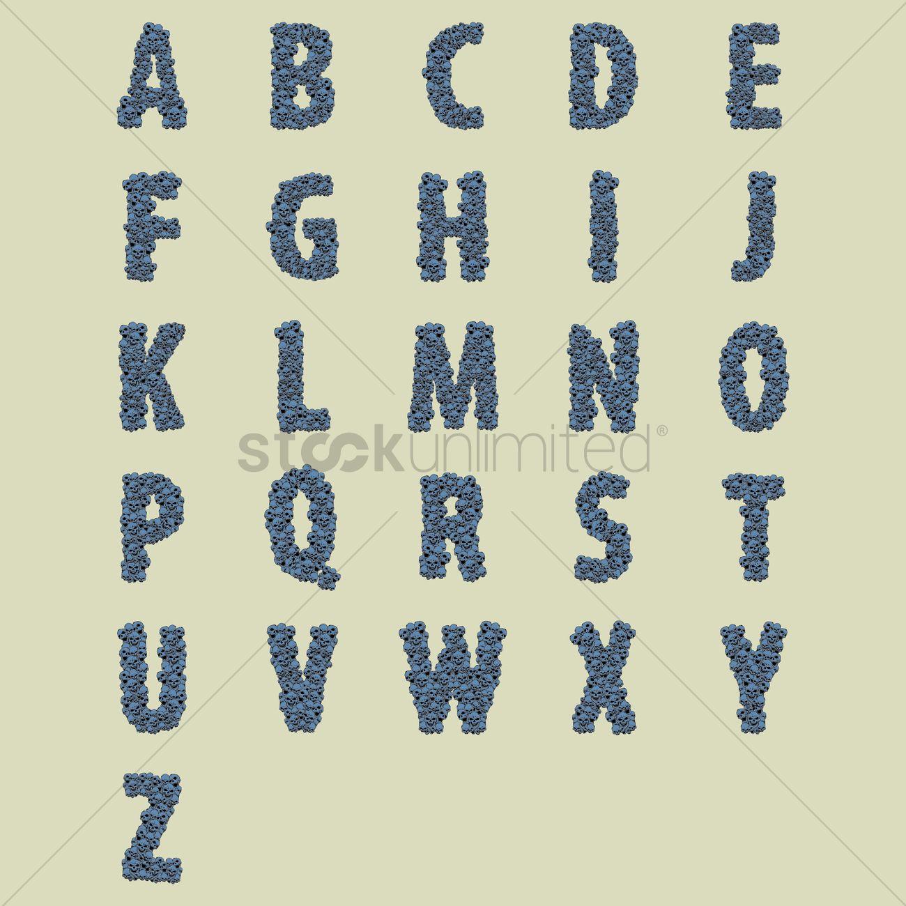 Capital Letter Alphabets In Skulls Design Vector Image 1467873