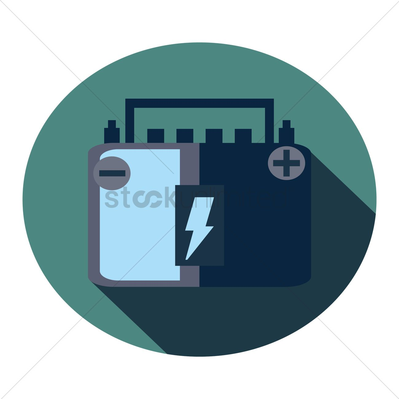 Car Battery With High Voltage Sign Vector Graphic