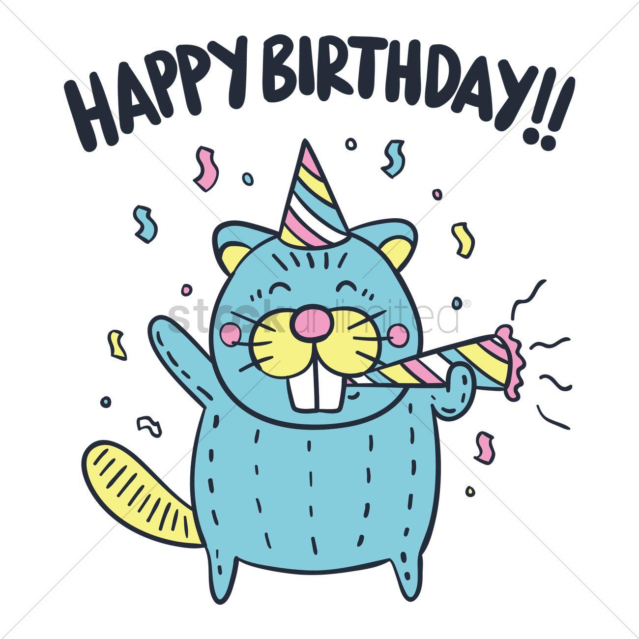 Cartoon Beaver Wishing Happy Birthday Vector Graphic