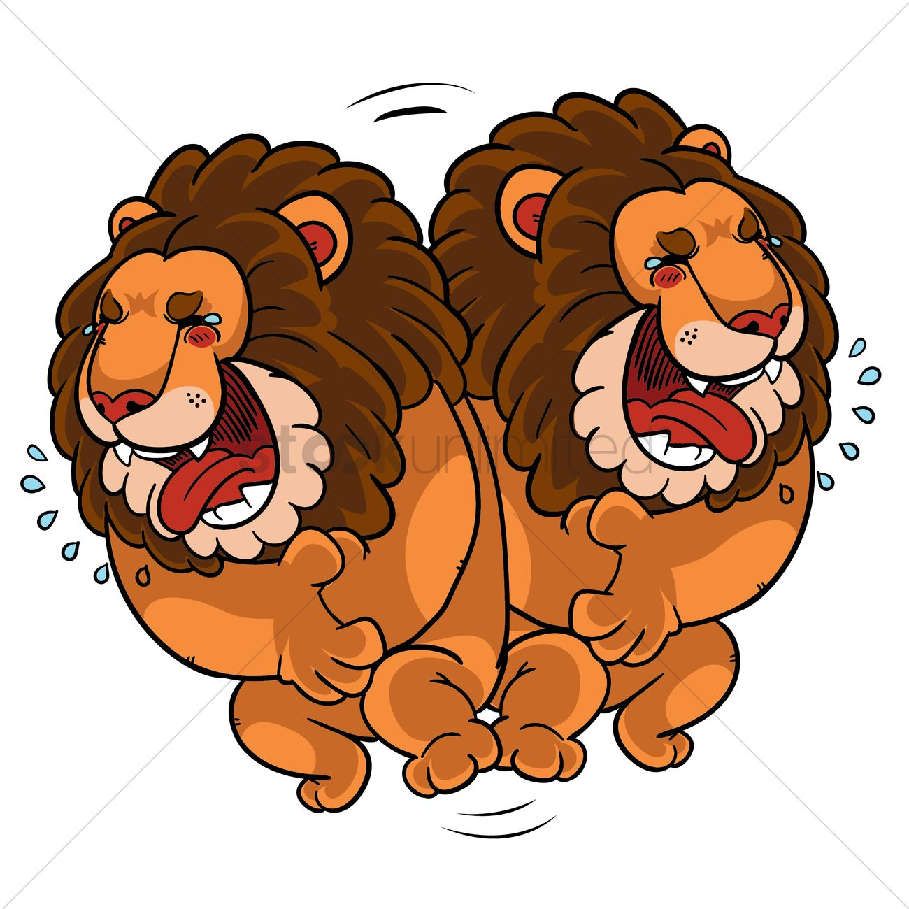 Cartoon lion rolling on floor laughing