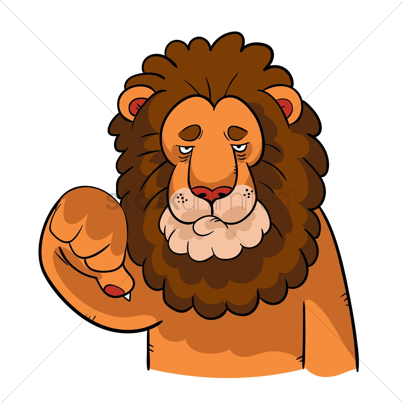 cartoon lion with thumbs down gesture vector image 1957557