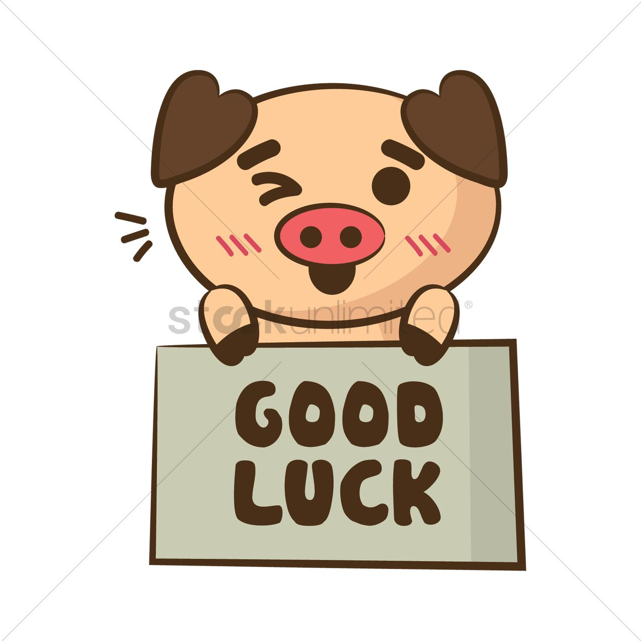 Cartoon Pig Holding Good Luck Board Vector Image