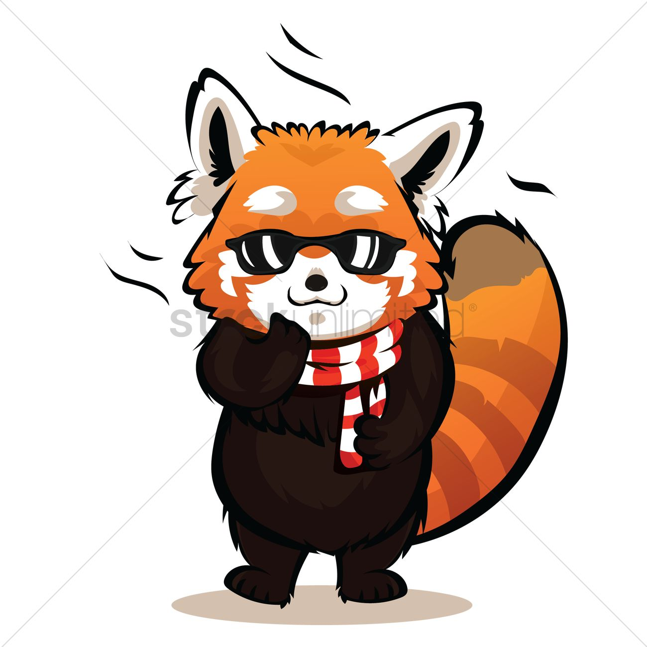 Cartoon Red Panda Being Cool Vector Graphic