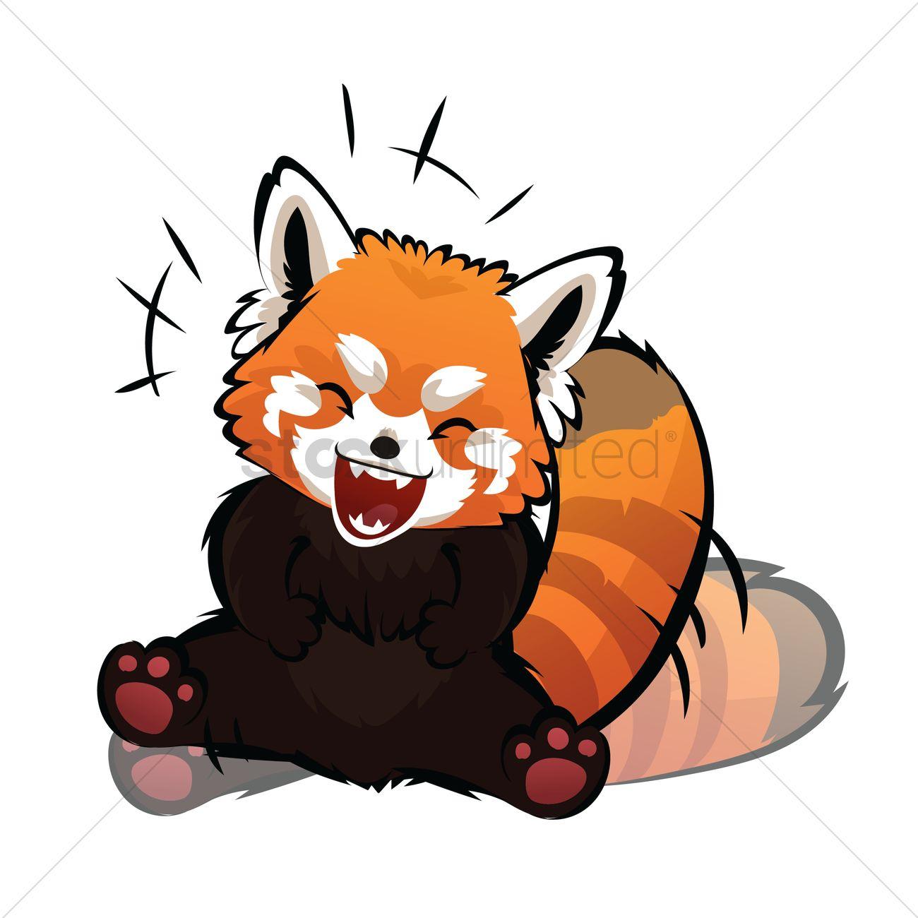 Cartoon red panda laughing Vector Image - 1956845 ... - photo#43