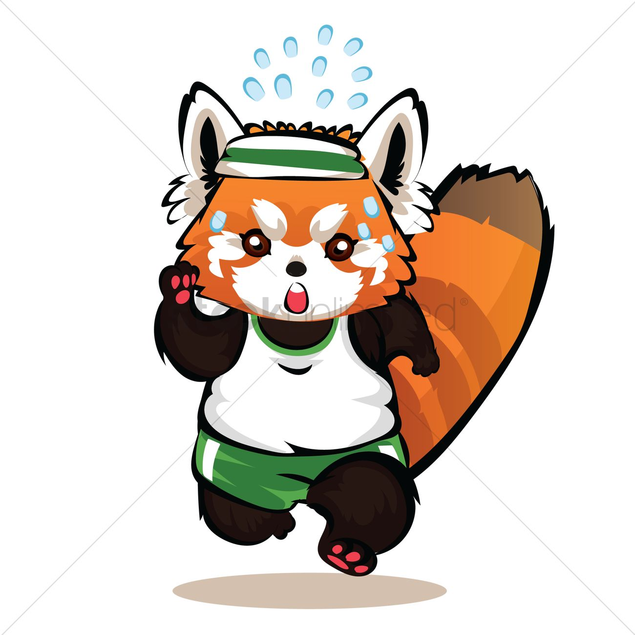 Cartoon Characters Exercising : Cartoon red panda working out vector image