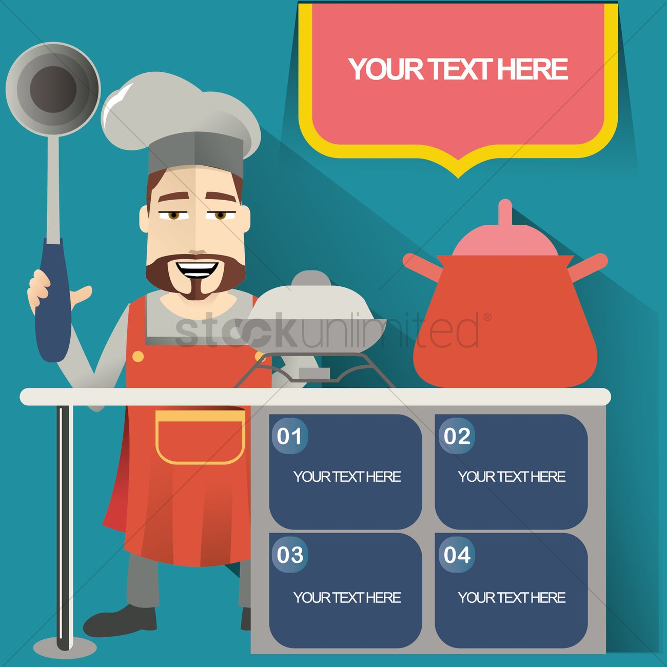 Chef cooking in kitchen Vector Image - 1512397 | StockUnlimited