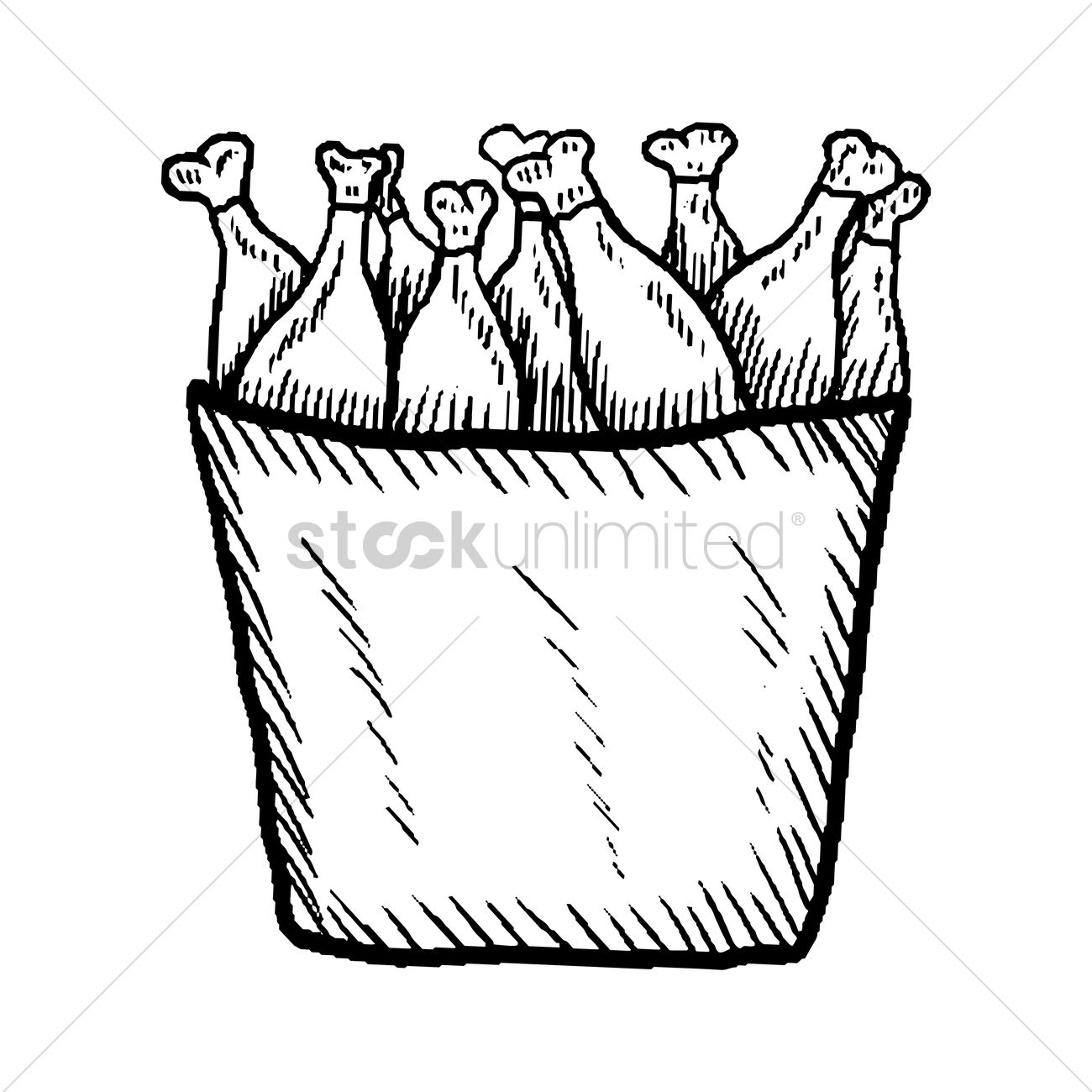 Chicken Drumsticks In A Bucket Vector Graphic