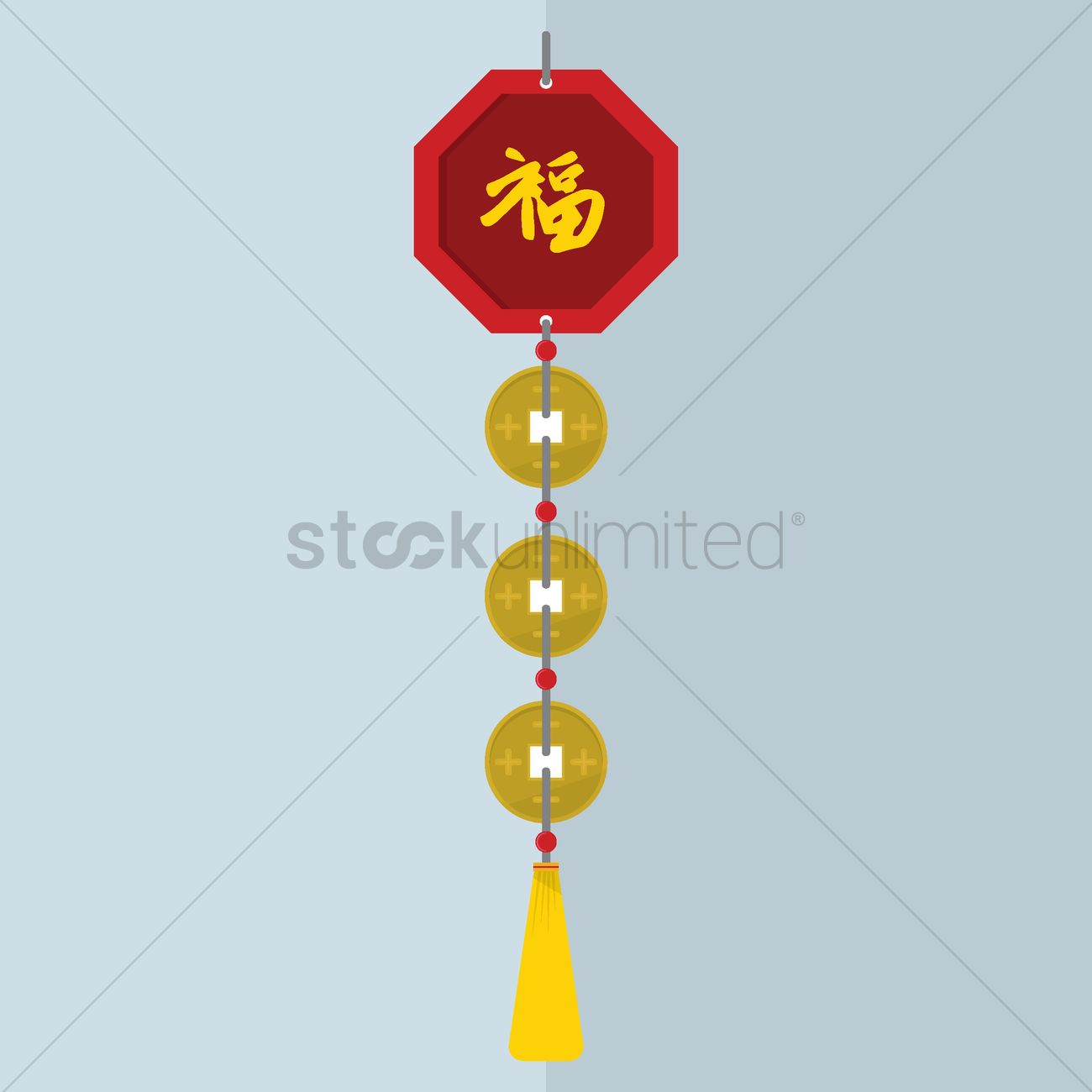 Chinese new year decorative design with gold coins Vector