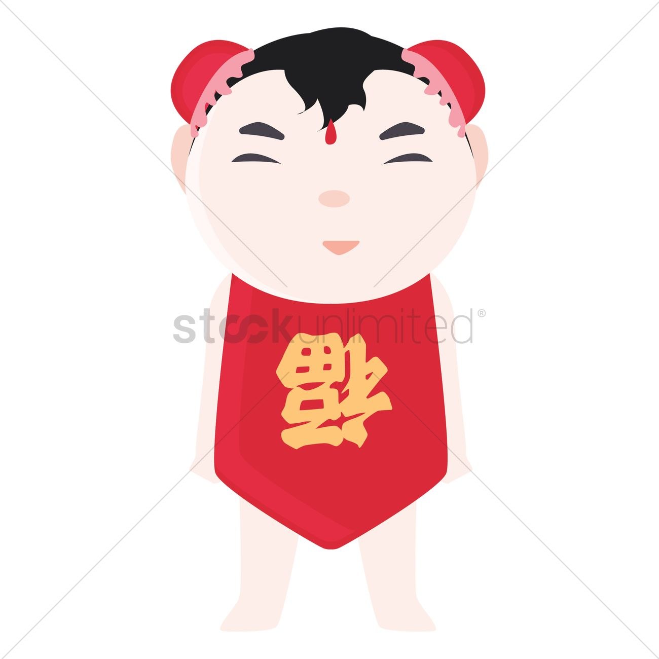 Chinese New Year Girl Traditional Greeting Vector Image 1425673
