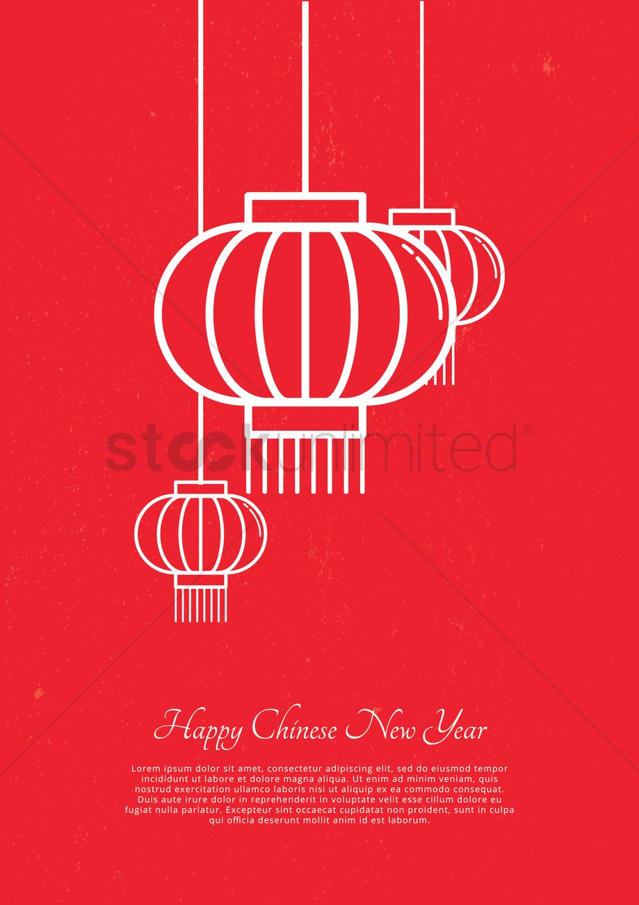 Chinese New Year Greeting Design Vector Image 2002929 Stockunlimited