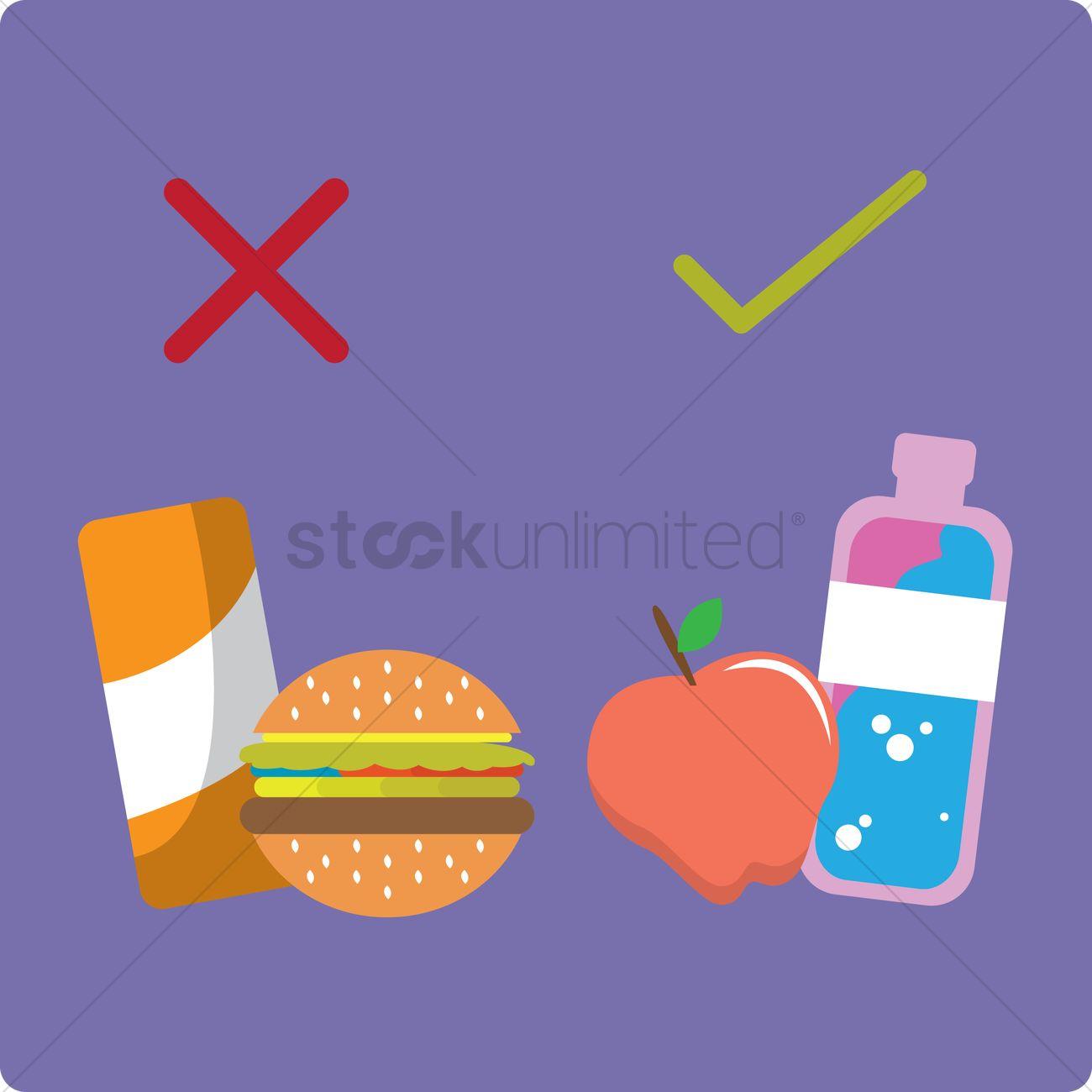 Free Choosing healthy food over junk food Vector Image - 1242577