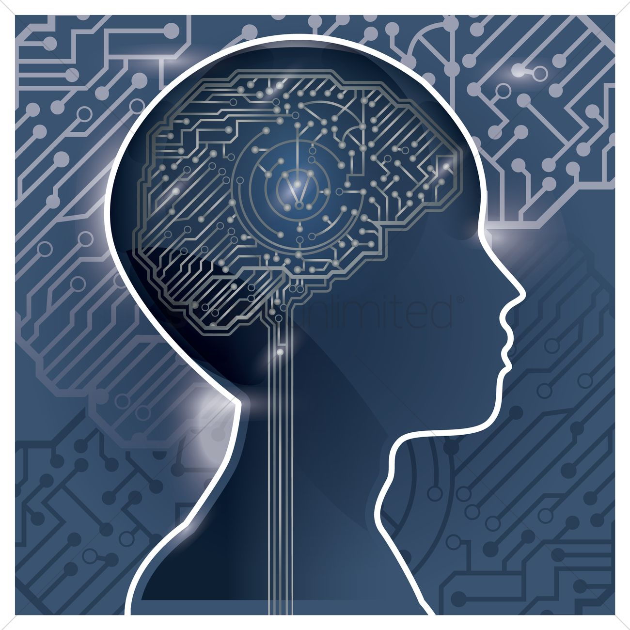 Circuit Brain Reusable : Circuit board human brain design vector image