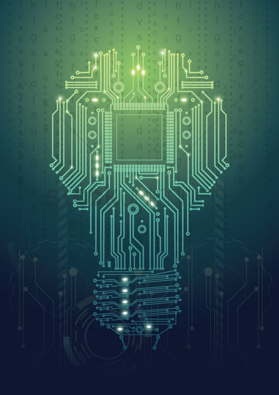 Circuit Board Light Bulb Design Vector Graphic