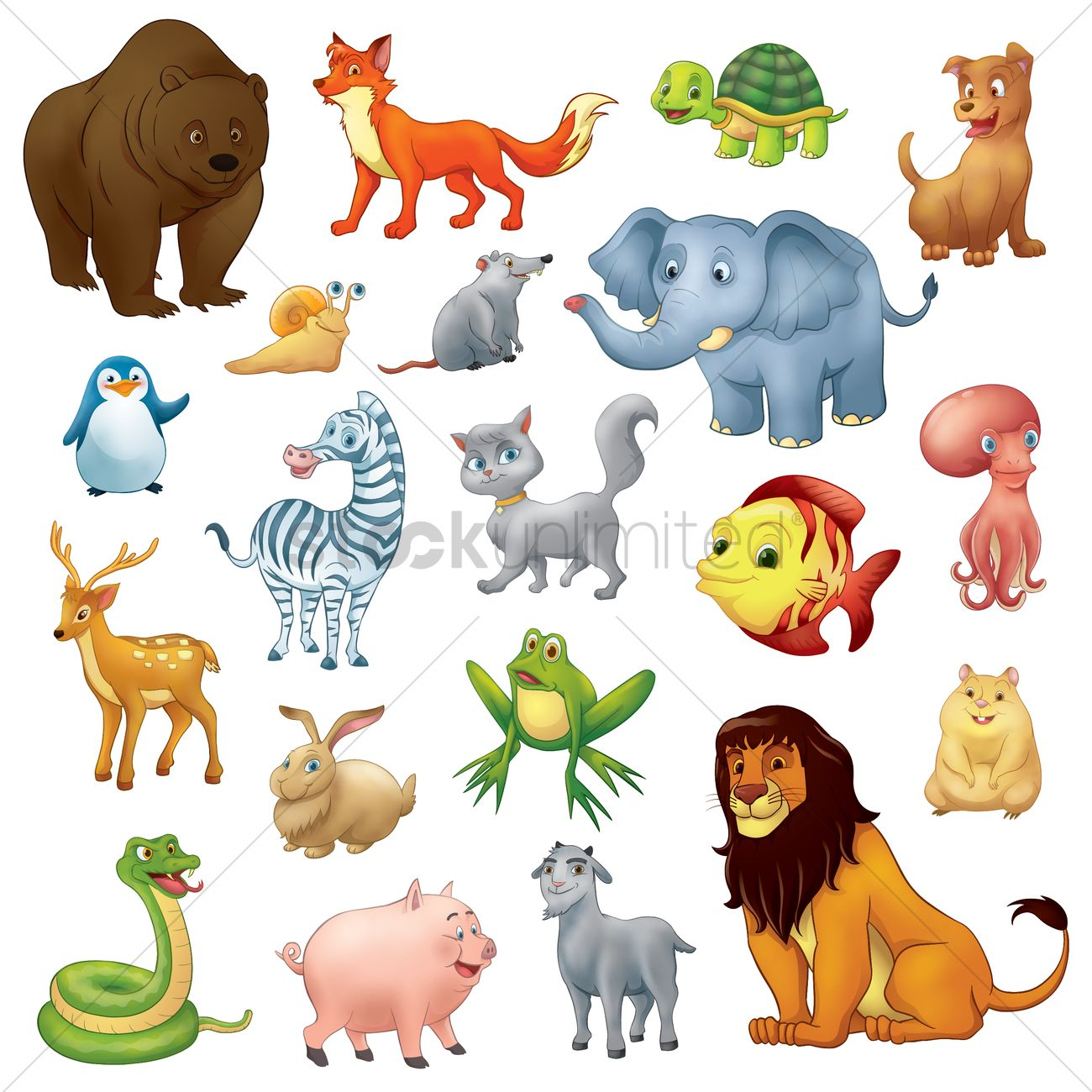 collection of cartoon animals vector graphic - Images Cartoon Animals
