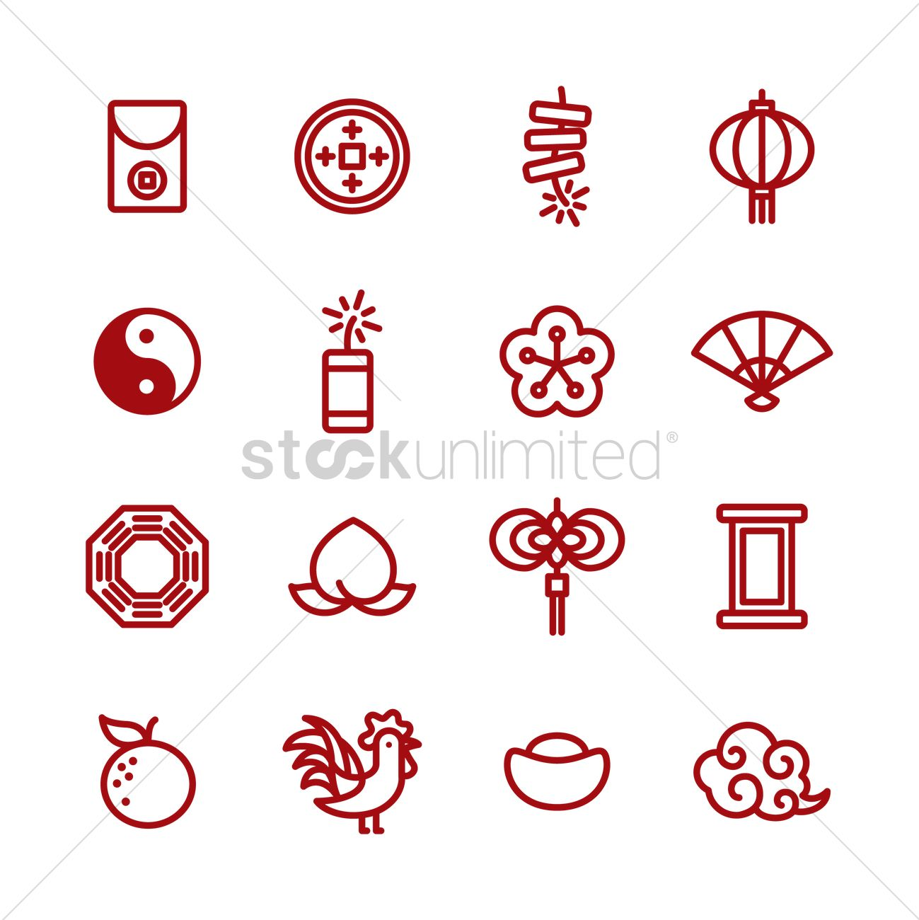 collection of chinese new year items vector graphic - Chinese New Year 1969