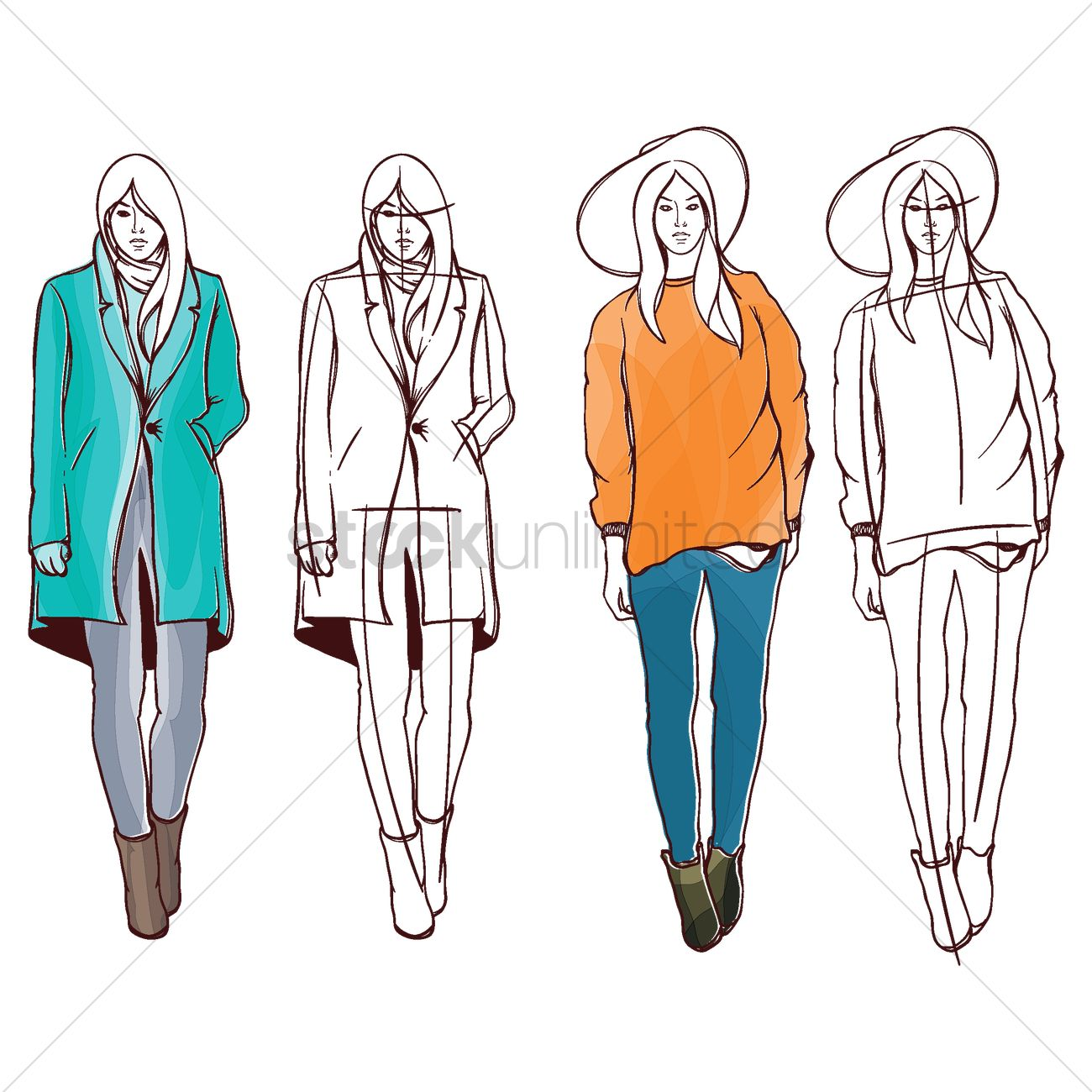 model sketches for fashion design fashion models