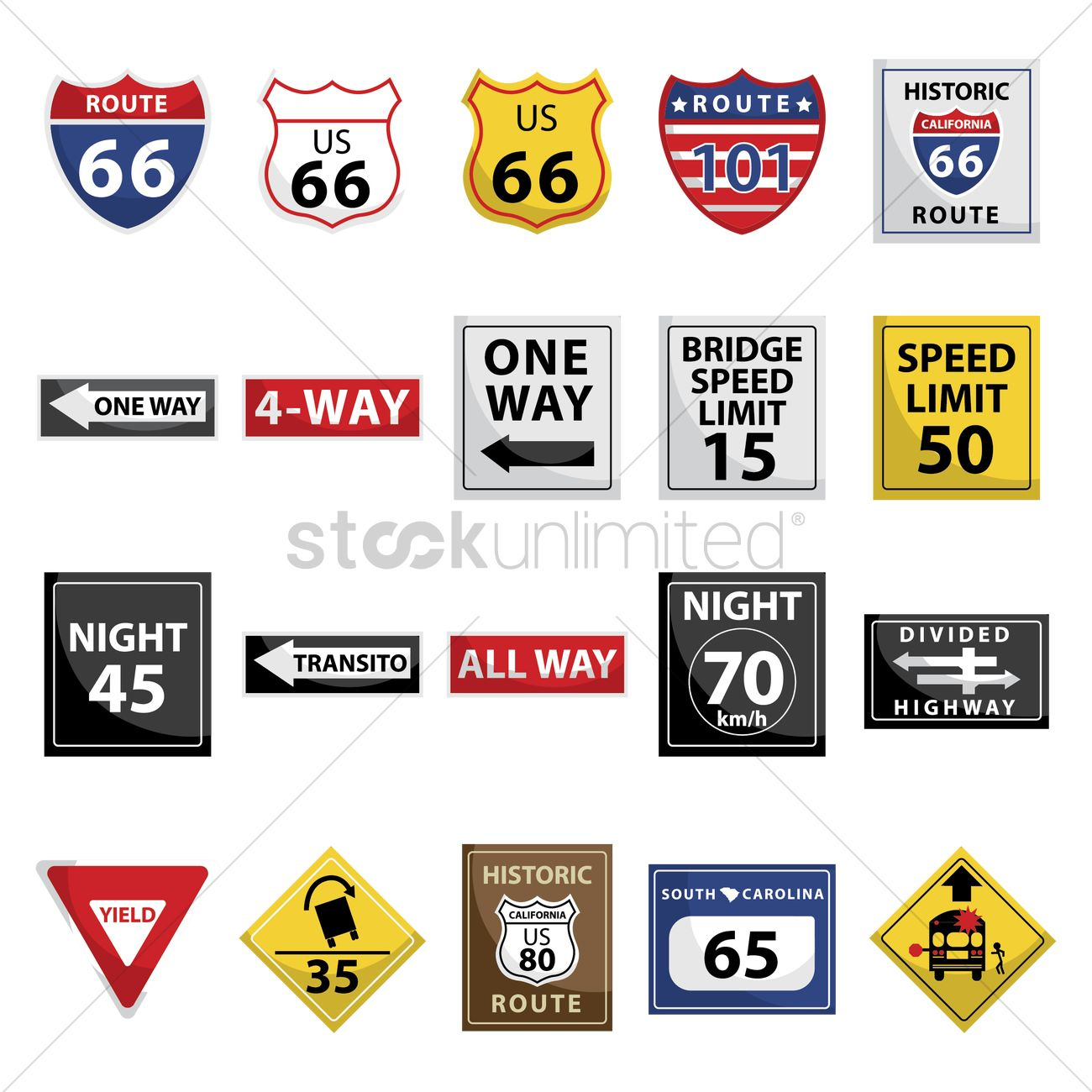 Collection Of Usa Road Signs Vector Image 1583117 Stockunlimited