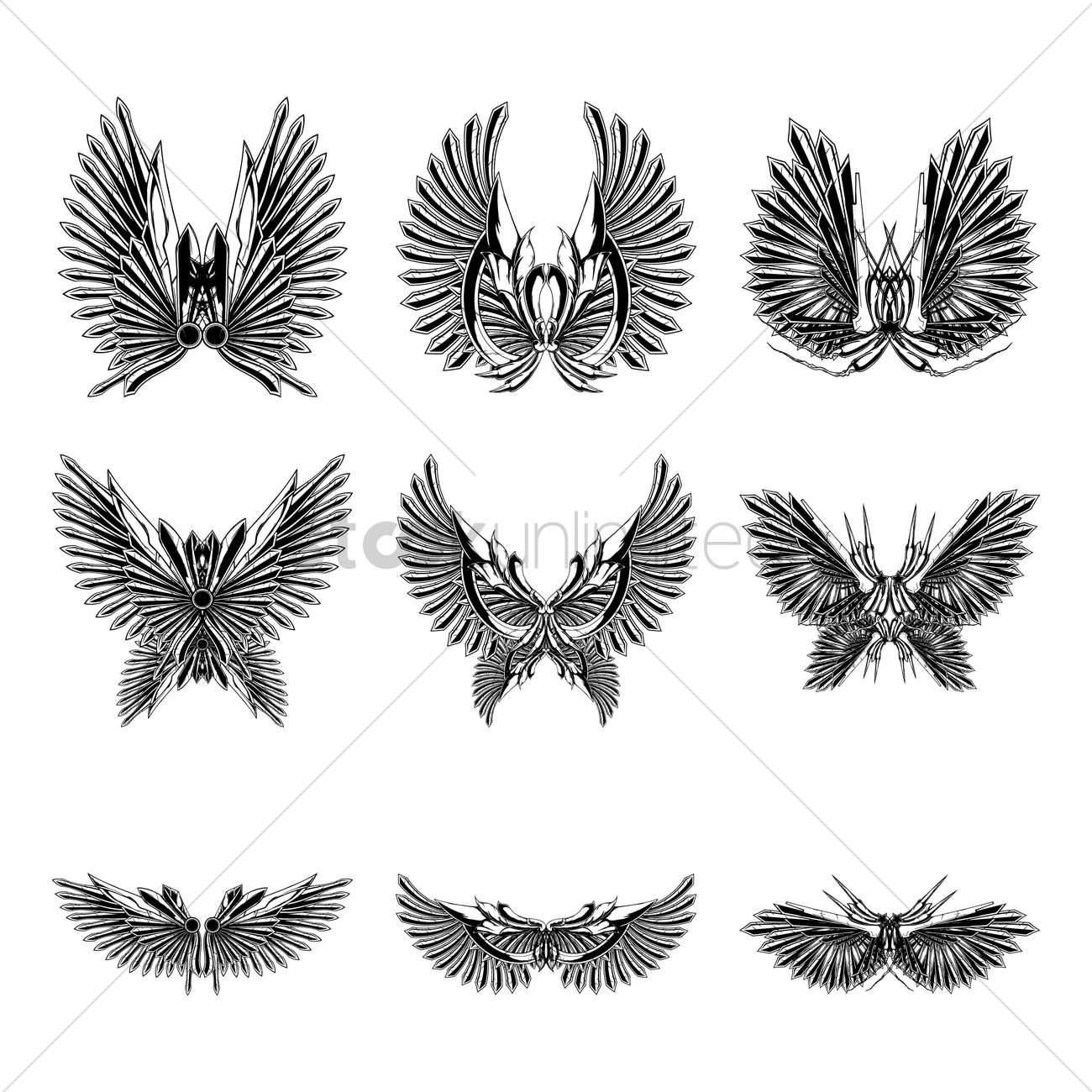 3889ac8f Collection of wing designs Vector Image - 1875077 | StockUnlimited