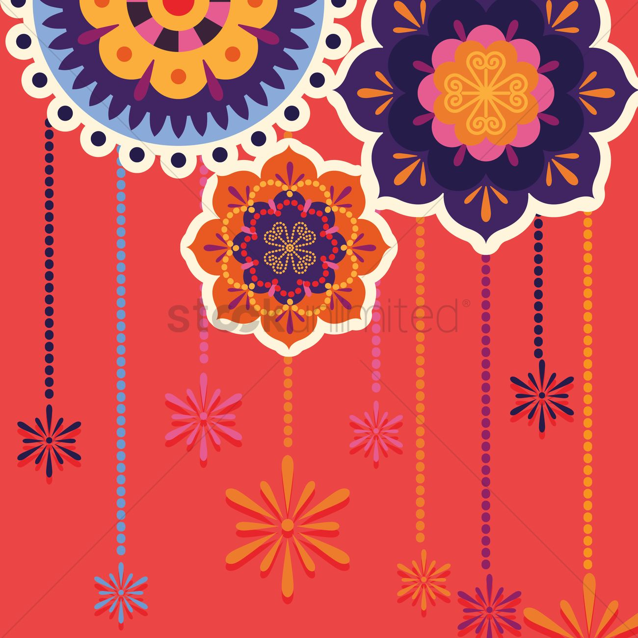 Colorful rangoli Vector Image - 1937453 | StockUnlimited for Flower Rangoli Vector  53kxo