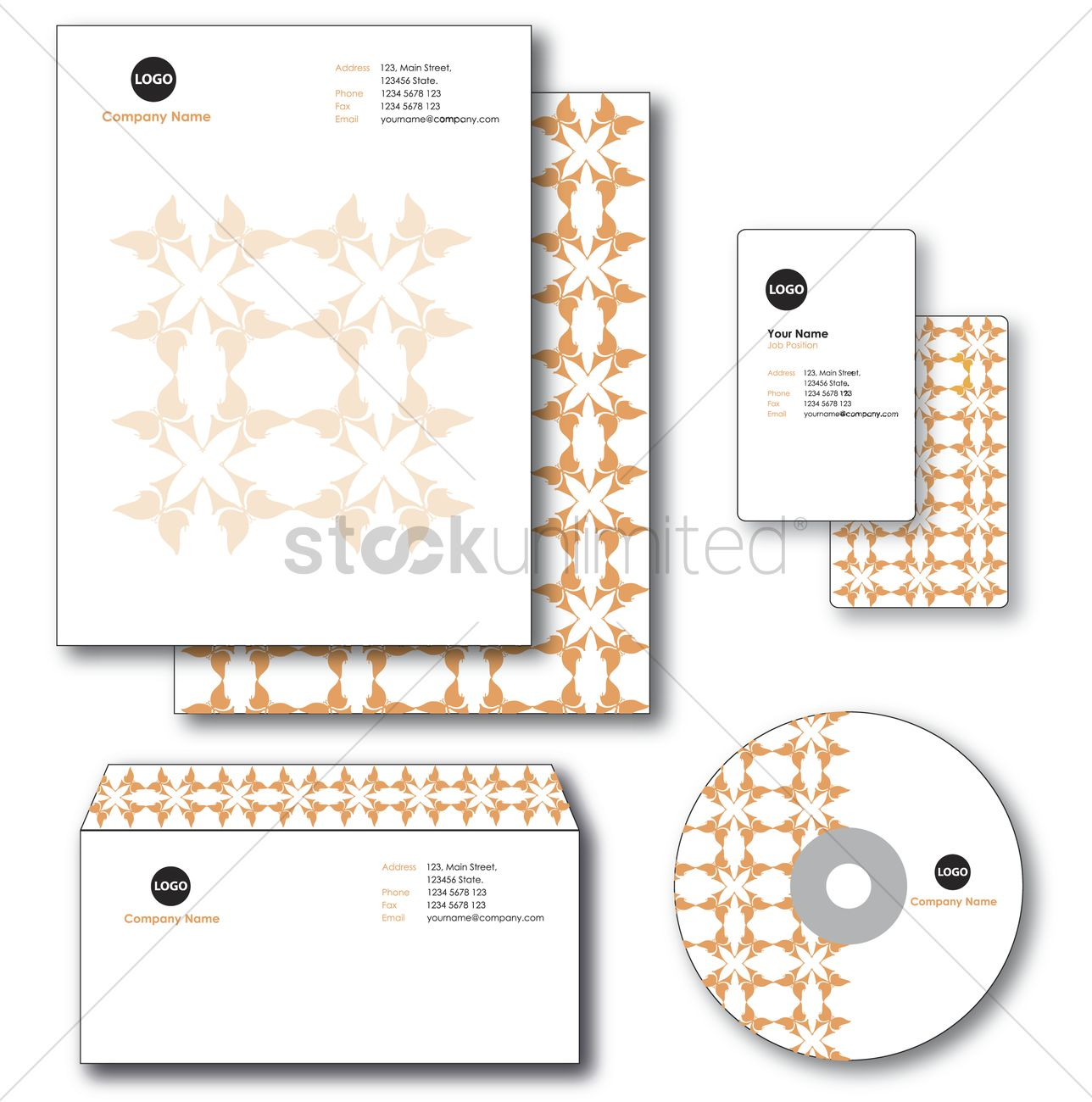 company paper envelope business card and cd vector graphic