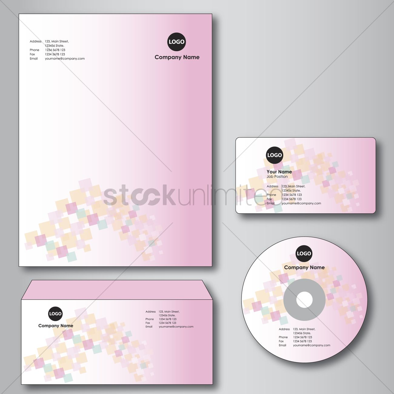 Company paper, envelope, business card and cd Vector Image - 1235453 ...