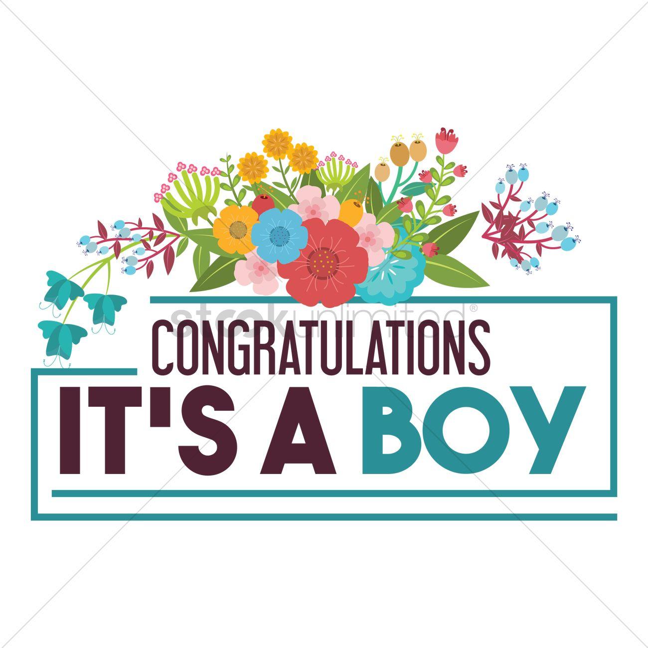 congratulations its a boy vector graphic