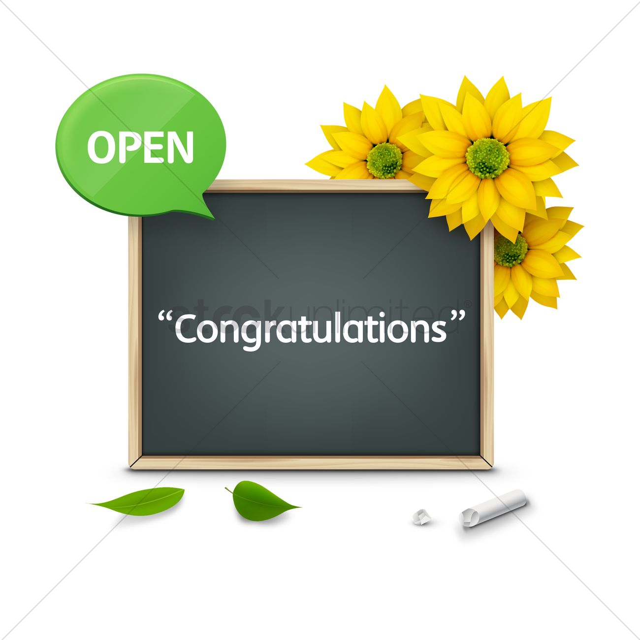 congratulations word on chalkboard with flowers vector image