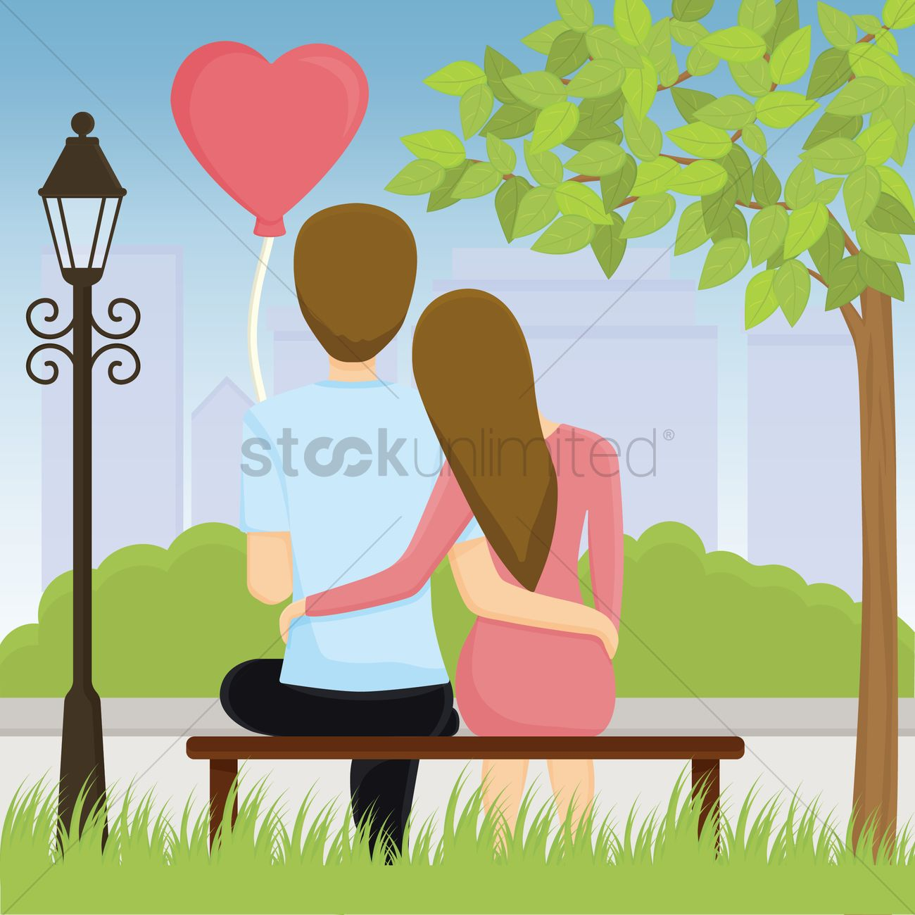 couple sitting on bench and hug each other vector graphic
