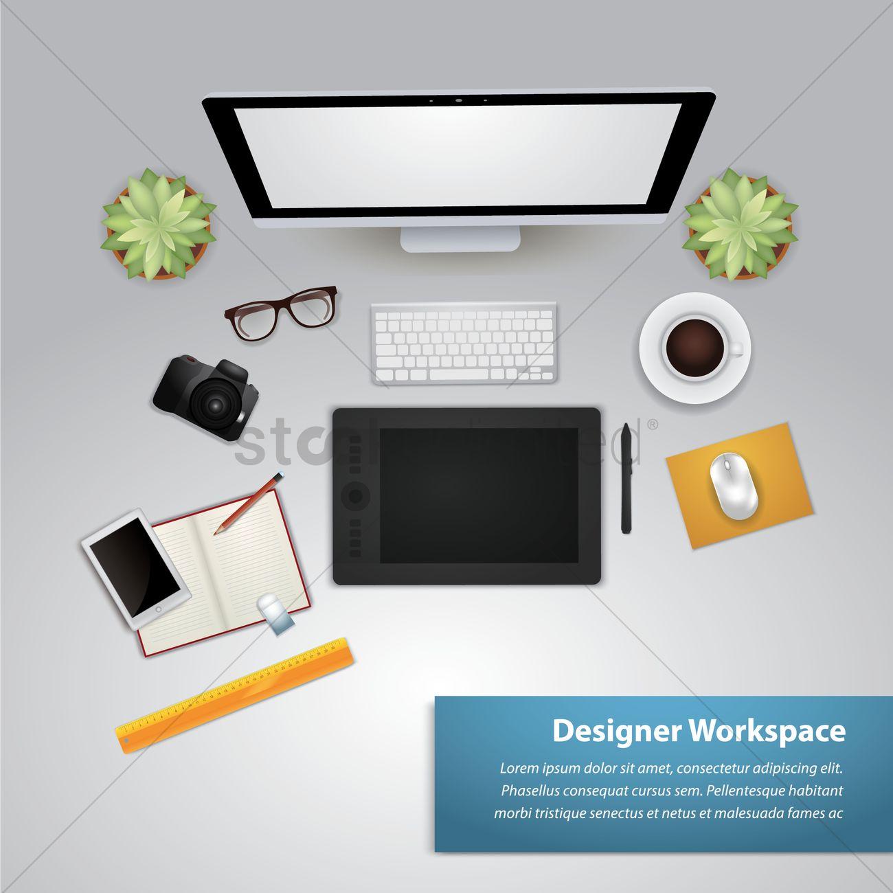 Creative Design Office Workspace Desk Vector Graphic