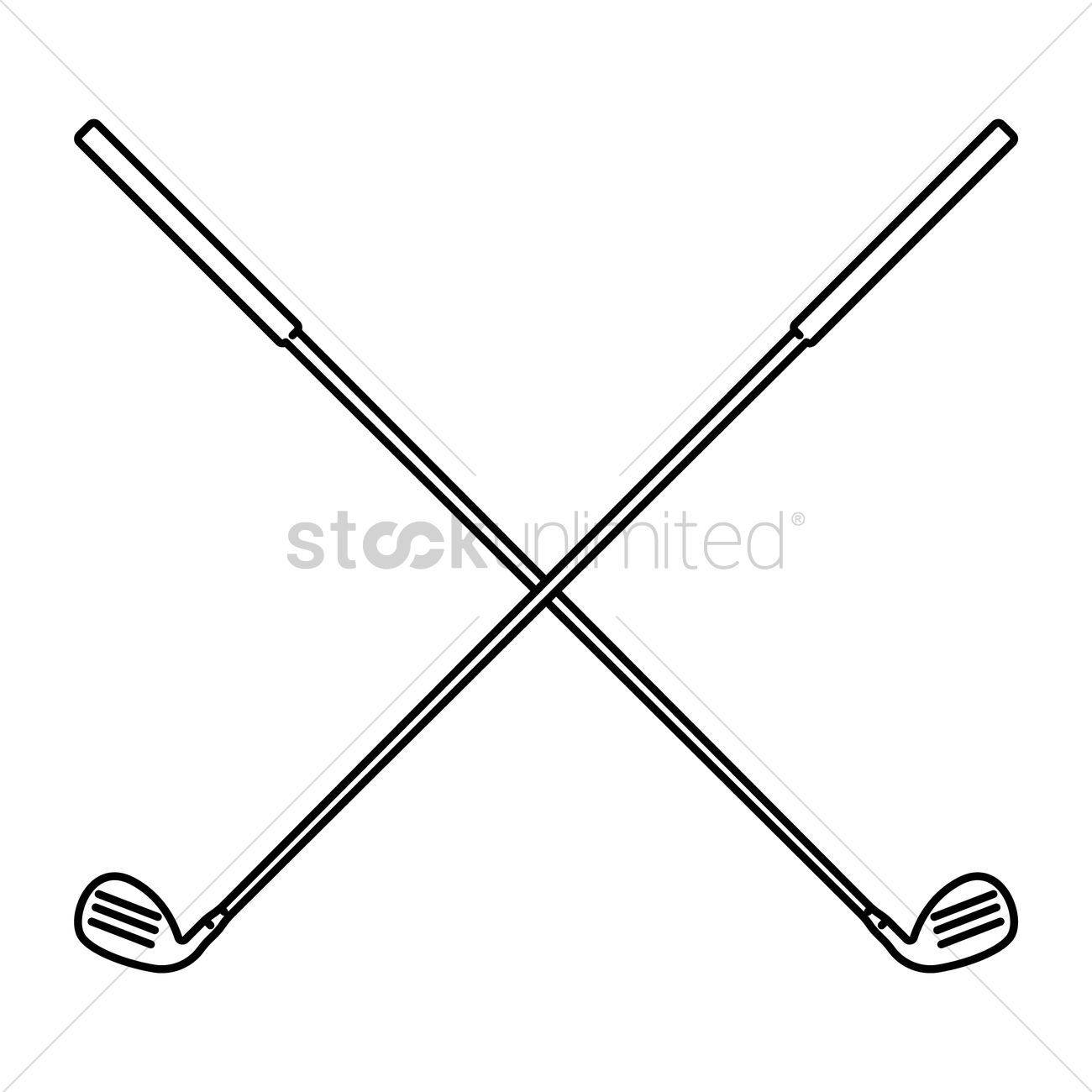 Crossed Golf Clubs Vector Image 1524173 Stockunlimited