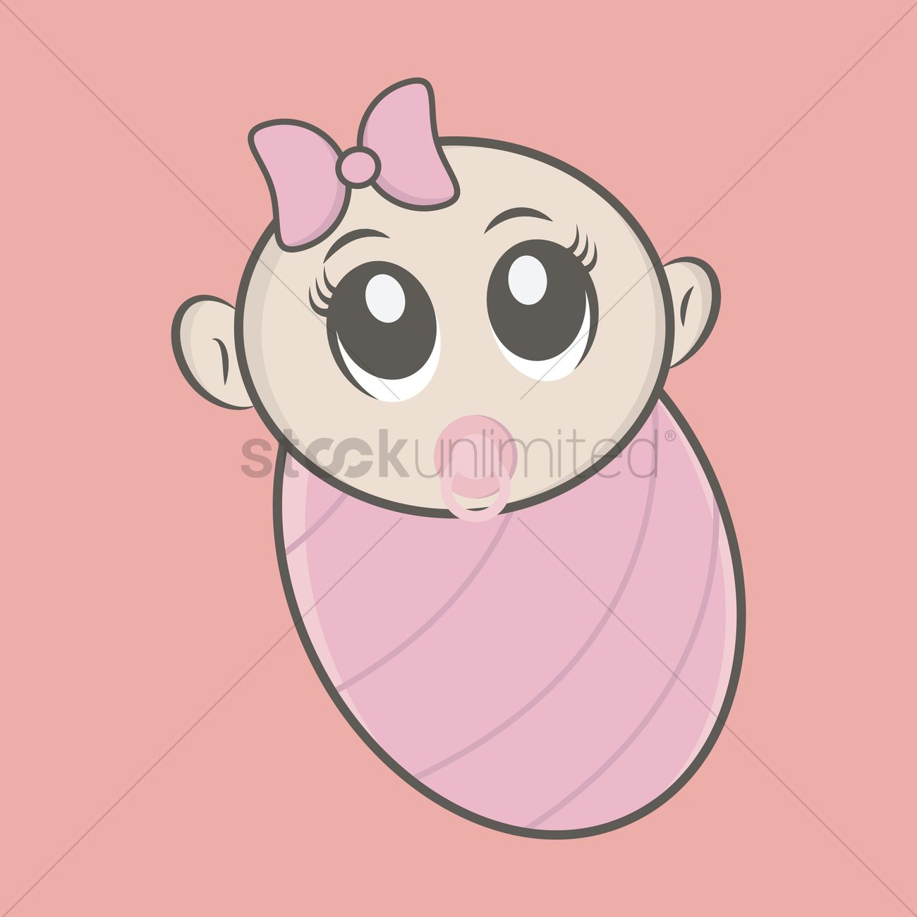 free cute newborn baby girl wrapped in a pink swaddling