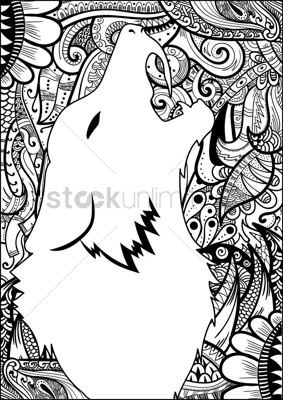 Line And Art Design Srl : Decorative design with wolf silhouette vector image