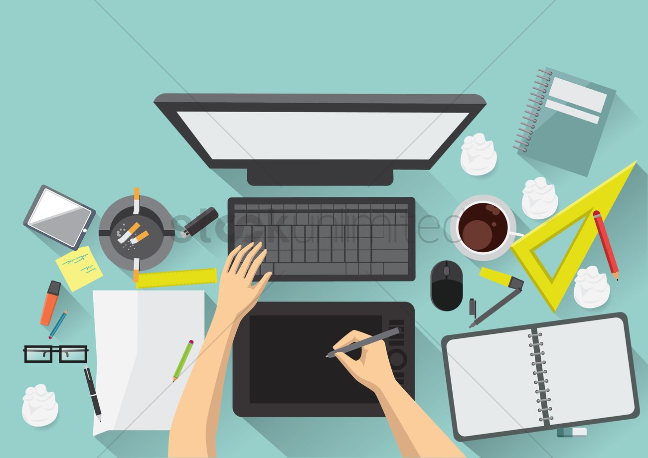 designer workspace vector graphic